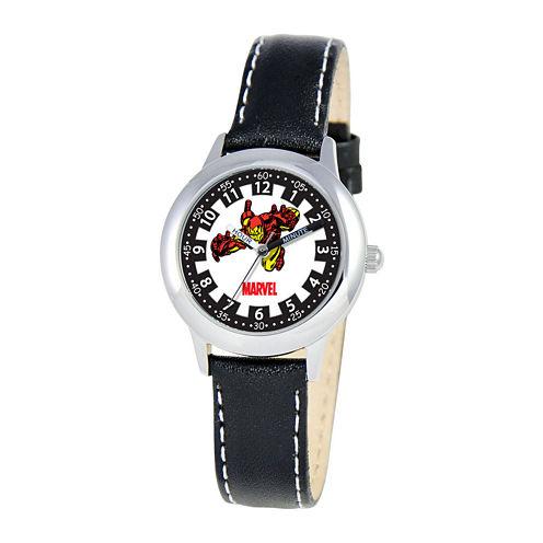 Marvel Iron Man Time Teacher Kids Black Leather Watch