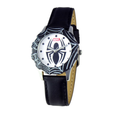 jcpenney.com | Marvel Spiderman Tween Black Leather Strap Watch