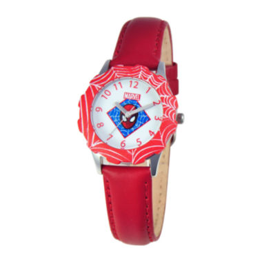 jcpenney.com | Marvel Spiderman Tween Red Leather Strap Watch