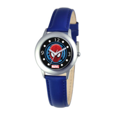 jcpenney.com | Marvel Spiderman Tween Blue Leather Strap Watch