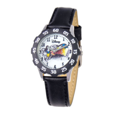 jcpenney.com | Disney Articulating Mickey Mouse Kids Black Leather Strap Watch