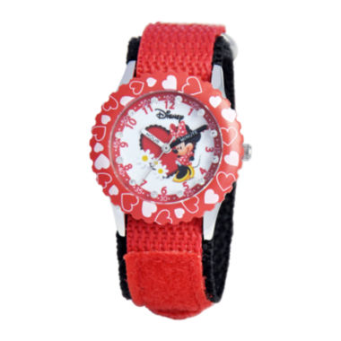 jcpenney.com | Disney Time Teacher Minnie Mouse Hearts Kids Red Watch