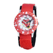 Disney Time Teacher Minnie Mouse Hearts Kids Red Watch