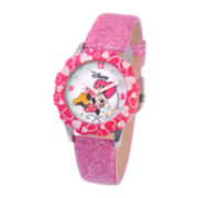 Disney Glitz Minnie Mouse Kids Pink Glitter Watch