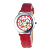 Disney Glitz Minnie Mouse Kids Red Glitter Watch