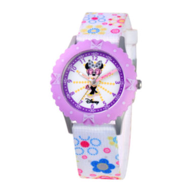 jcpenney.com | Disney Time Teacher Minnie Mouse Kids Floral Strap Watch