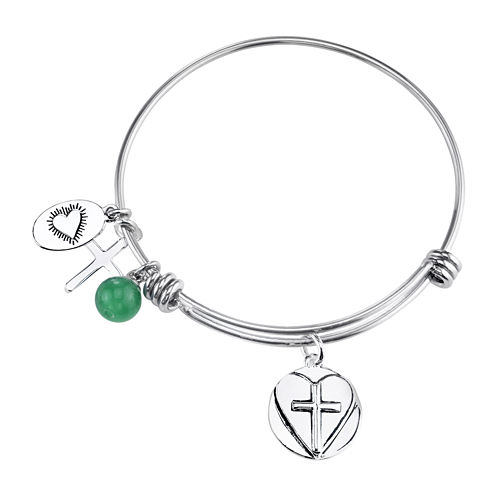 Footnotes Too® Stainless Steel Green Bead & Faith, Hope & Love Charm Expandable Bangle