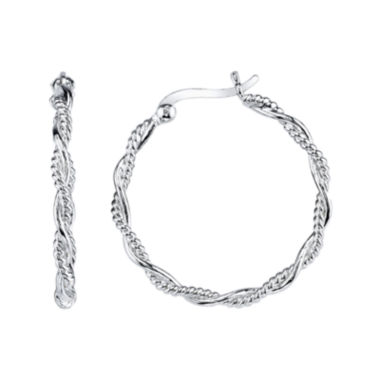 jcpenney.com | Sterling Silver Textured Hoop Earrings