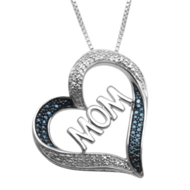 jcpenney.com | 1/10 CT. T.W. White & Color-Enhanced Blue Diamond Mom Heart Pendant Necklace