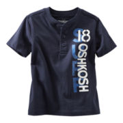 OshKosh B'gosh® Navy Graphic Henley Short-Sleeve Tee - Boys 5-7