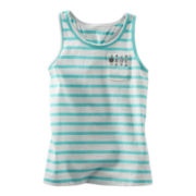 OshKosh B'gosh® Turquoise and White Sequin Pocket Tank Top - Girls 5-6x