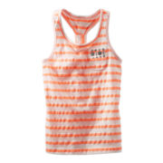 OshKosh B'gosh® Orange and White Sequin Pocket Tank Top - Girls 5-6x