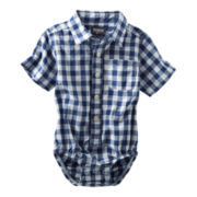 OshKosh B'gosh® Blue and White Plaid Bodysuit - Boys 3m-24m