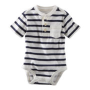 OshKosh B'gosh® Navy and White Striped Henley Bodysuit - Boys 3m-24m