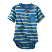 OshKosh B'gosh® Blue and Green Striped Henley Bodysuit - Boys 3m-24m