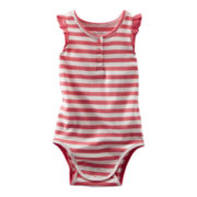 OshKosh B'gosh® Pink and White Bodysuit - Girls 3m-24m