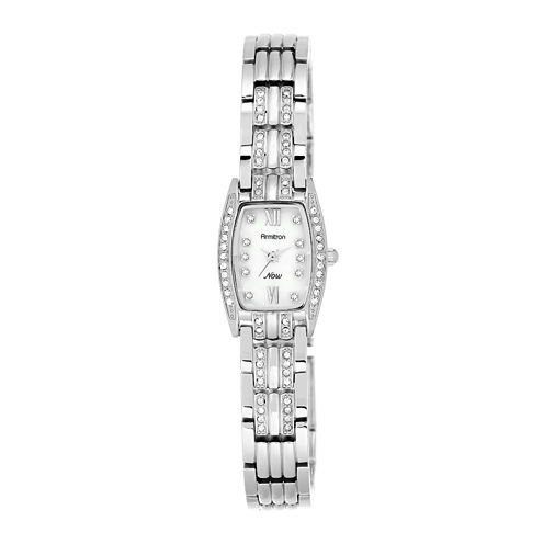 Armitron® Now® Womens Crystal-Accent Tonneau Silver-Tone Bracelet Watch