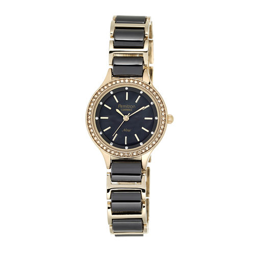 Armitron® Now® Womens Crystal-Accent Black Ceramic/Gold-Tone Adjustable Watch