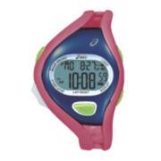 ASICS® Womens Running 100-Lap Pink/Blue Chronograph Sport Watch