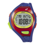 ASICS® Mens Running 100-Lap Blue/Red Chronograph Sport Watch