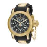 Invicta® Russian Diver Mens Gold-Tone/Black Strap Chronograph Watch 15562