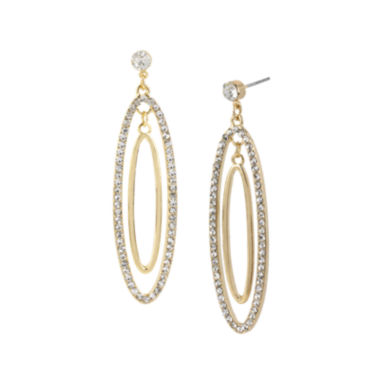 jcpenney.com | Worthington® Crystal-Accent 2-Oval Hoop Earrings