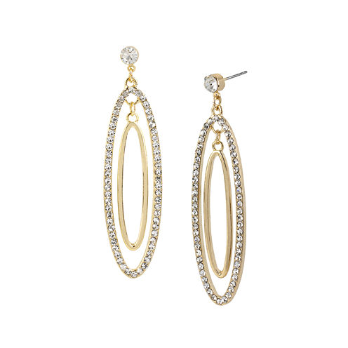 Worthington® Crystal-Accent 2-Oval Hoop Earrings