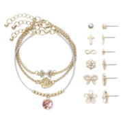 Decree® 9-pc. Bow and Flower Bracelet and Earring Set