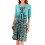 Perceptions Elbow-Sleeve Knit Jacket Dress