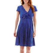 Perceptions Short-Sleeve Polka Dot Dress with Buckle
