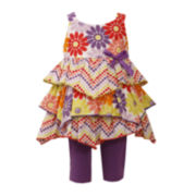Bonnie Jean® Tiered Floral Dress and Leggings Set – Baby Girls newborn-24m