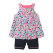 Little Lass Ruffled Floral-Print Top and Shorts Set – Baby Girls 3m-24m