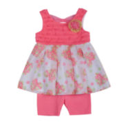 Little Lass Pink Floral Top and Shorts Set - Baby Girls 3m-24m