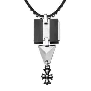 jcpenney.com | Inox® Jewelry Mens Black Leather, Stainless Steel and Black IP Cross Pendant