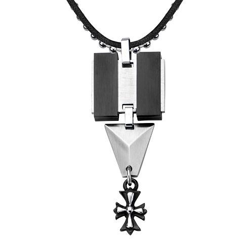 Inox® Jewelry Mens Black Leather, Stainless Steel and Black IP Cross Pendant