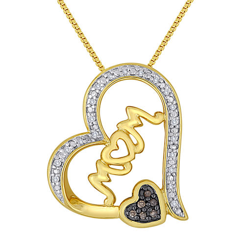 "1/10 CT. T.W. White and Color-Enhanced Champagne Diamond ""Mom"" Heart Pendant"