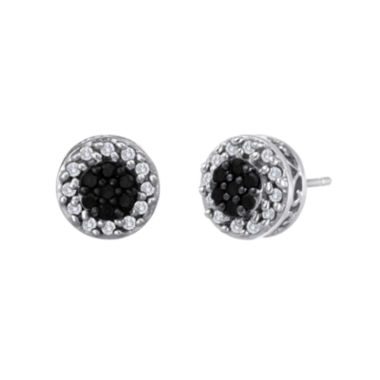 jcpenney.com | 1 CT. T.W. Sterling Silver White & Color-Enhanced Black Diamond Button Earrings