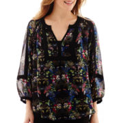 nicole by Nicole Miller® 3/4-Sleeve Floral Peasant Top