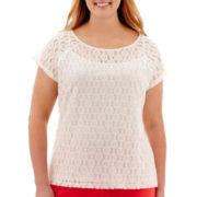 Liz Claiborne® Short-Sleeve Lace Top - Plus