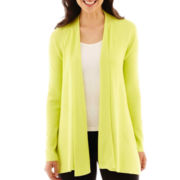 Worthington® Long-Sleeve Ribbed Open-Front Cardigan Sweater