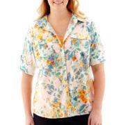 St. John's Bay® Elbow-Sleeve Roll-Tab Campshirt - Plus