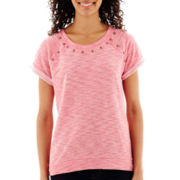 a.n.a® Short-Sleeve Studded Sweatshirt