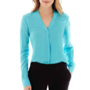 Worthington® Long-Sleeve Button Front Blouse