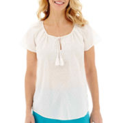 St. John's Bay® Short-Sleeve Embroidered Peasant Top
