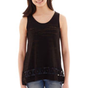 Miss Chievous Crochet-Inset High-Low Tank Top