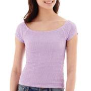 Energie Cap-Sleeve Smocked T-Shirt