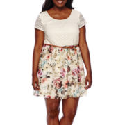 Love Reigns Short-Sleeve Lace Belted Floral Dress - Plus
