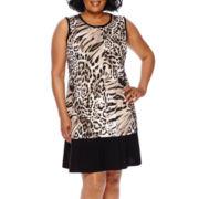 Blu Sage Sleeveless Animal Print Dress - Plus