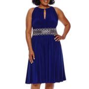 R&M Richards Sleeveless Halter Embellished Waist Dress - Plus