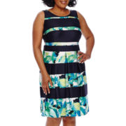 Danny & Nicole® Sleeveless Floral Striped Fit-and-Flare Dress - Plus